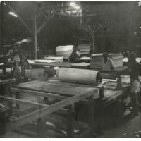 A.E.F. Scierie de déroulage CCAEF, les troncs d'okoumé sont déroulés
