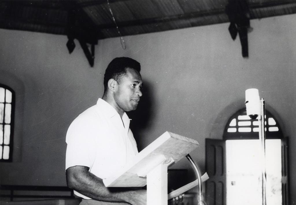 Assemblée des Eglises du Pacifique à Chepenehe, 1966 : intervention d'un jeune laïc fidjien, M. Josefata Kamikamica (méthodiste)