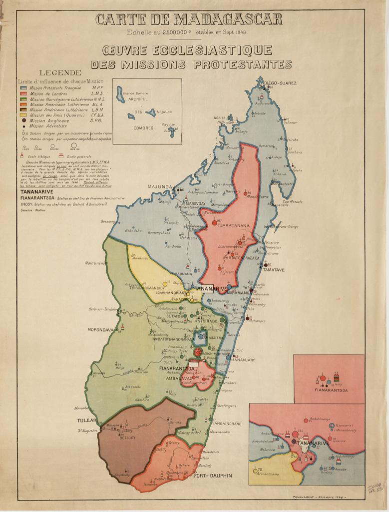 Carte de Madagascar : oeuvre ecclésiastique des missions protestantes (01/09/1948)
