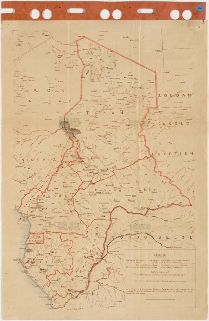 [Carte de l'Afrique Equatoriale Française avec annotations manuscrites concernant les champs de mission] / Jean Keller ([1950-1960])