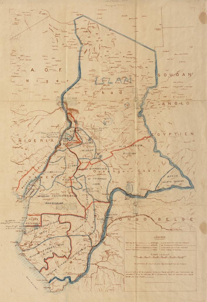 [Carte de l'Afrique Equatoriale Française avec annotations manuscrites concernant les champs de mission] / Jean Keller ([1950-?])