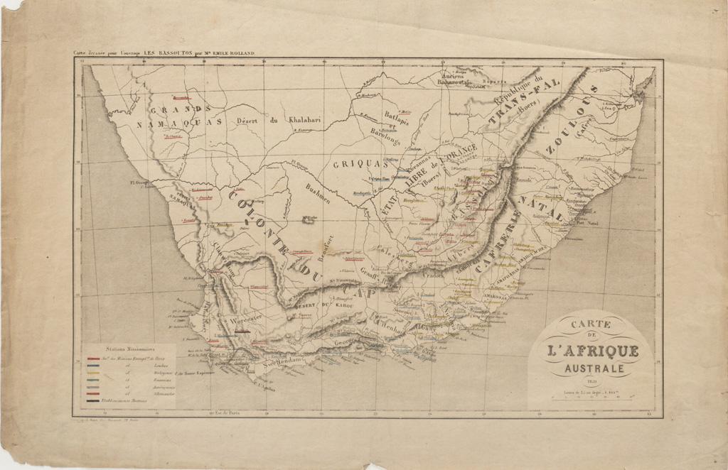 Carte de l'Afrique australe / Kautz (1859)