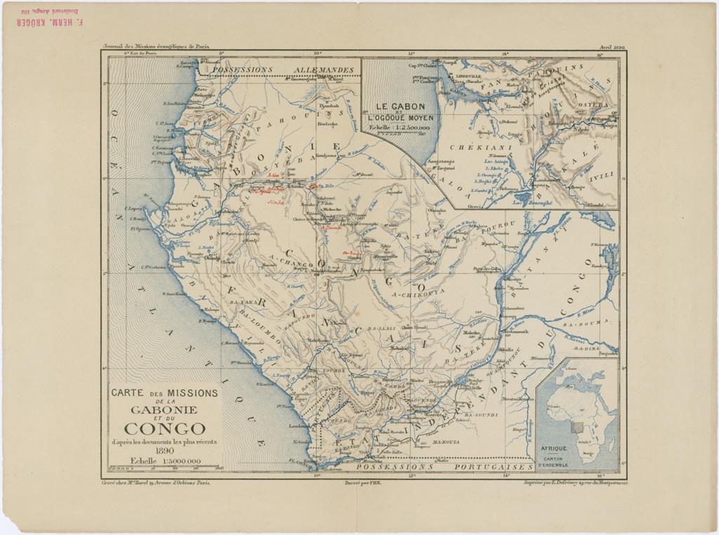 Carte des missions de la Gabonie et du Congo / Frédéric-Hermann Kruger (1890)