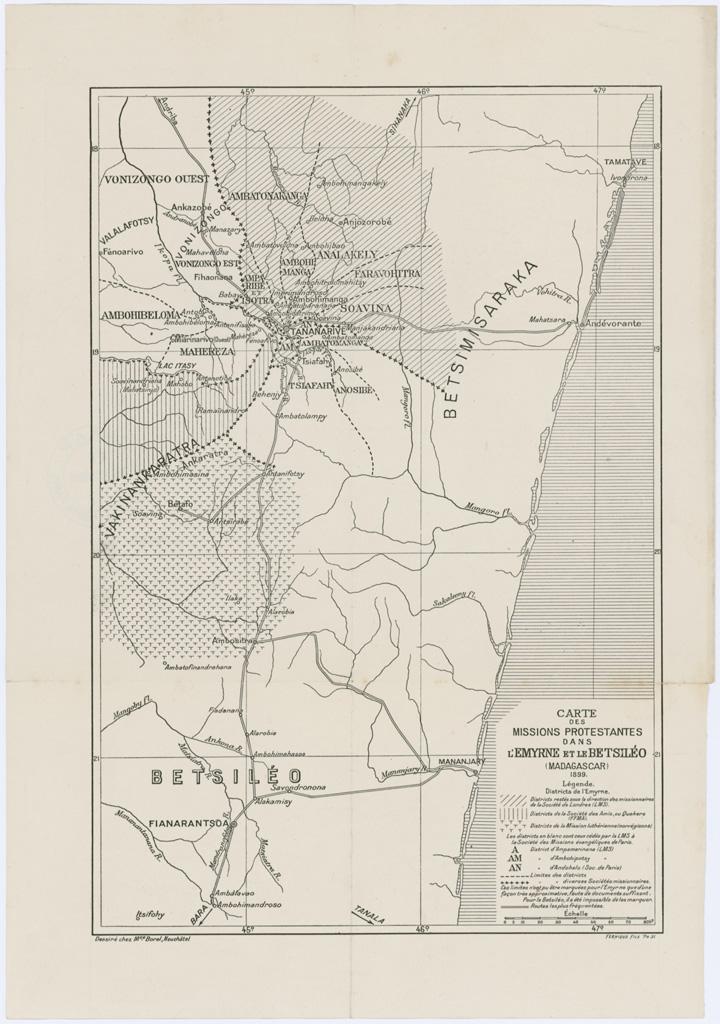 Carte des missions protestantes dans l'Emyrne et le Betsiléo (Madagascar) 1899. / Maurice Borel (1899)