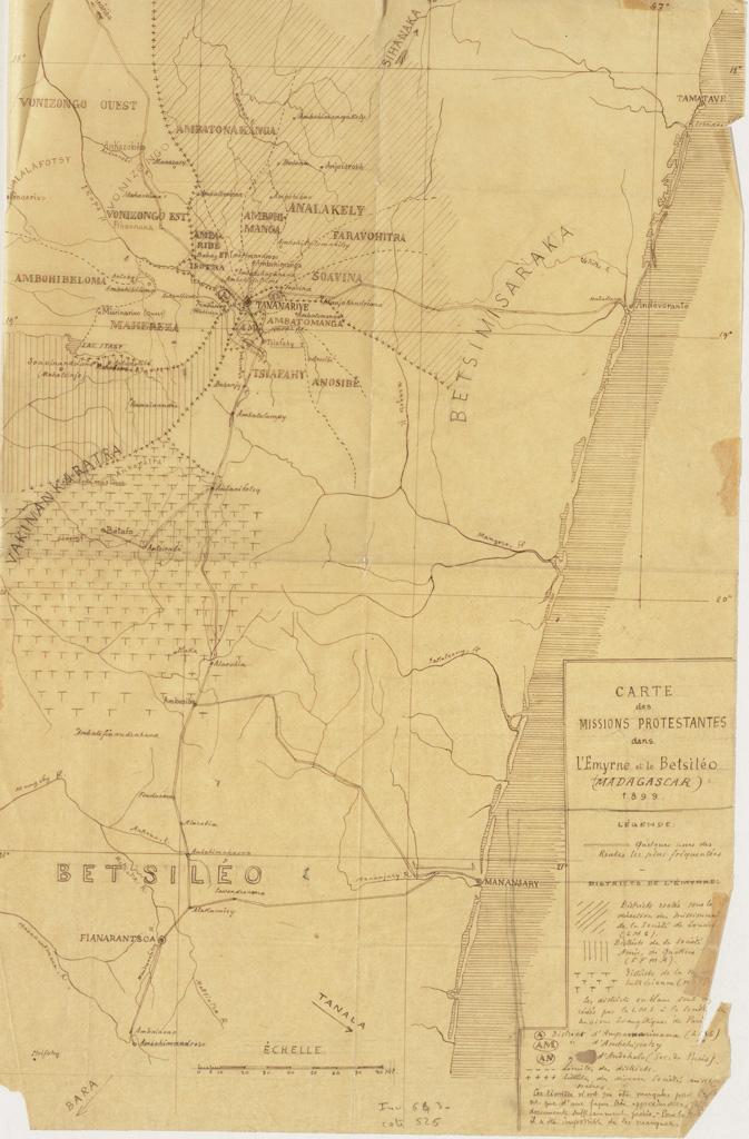 Carte des missions protestantes dans l'Emyrne et le Betsiléo (Madagascar) 1899 / Maurice Borel (1899)