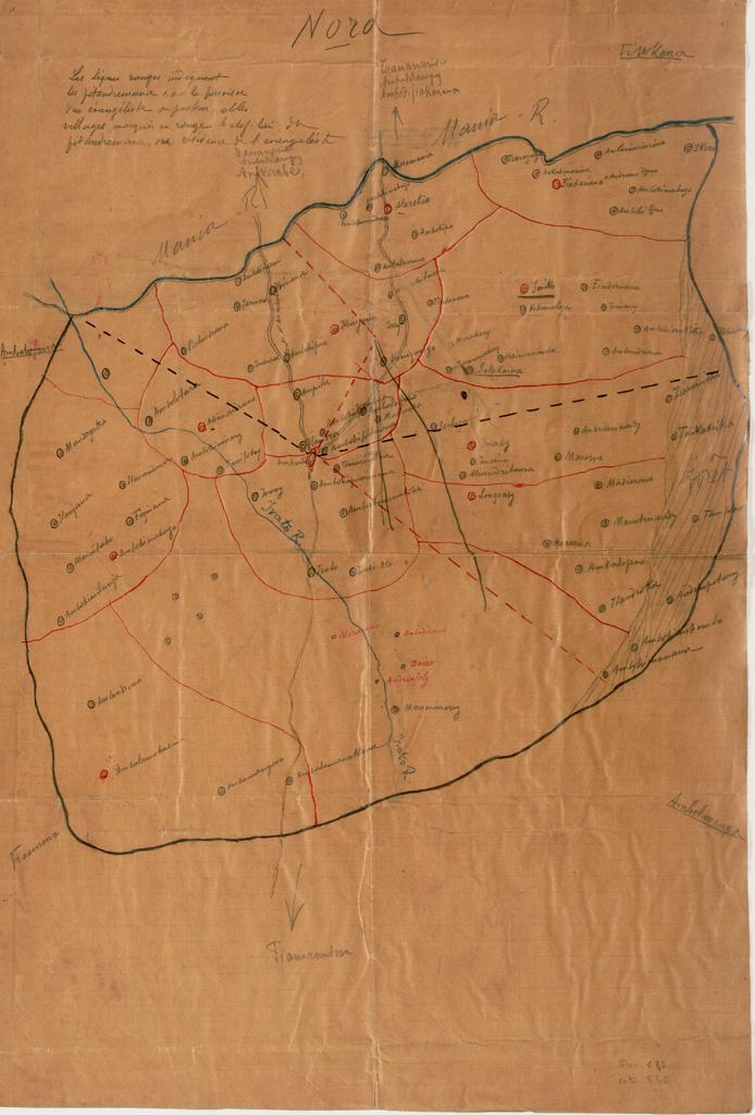 [Carte des paroisses et lieux de résidence des pasteurs ou évangélistes entre Tananarive et Fianarantsoa] ([s.d.])