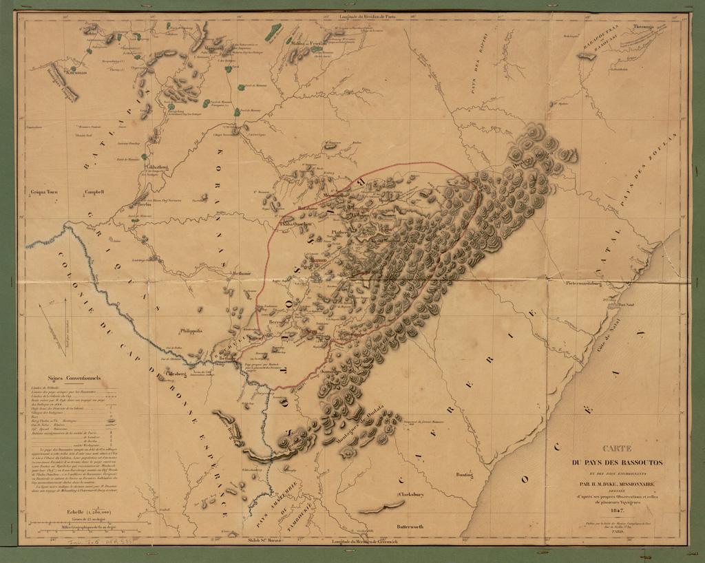 Carte du pays des Bassoutos et des pays environnants / Hamilton M. Dyke (1847)