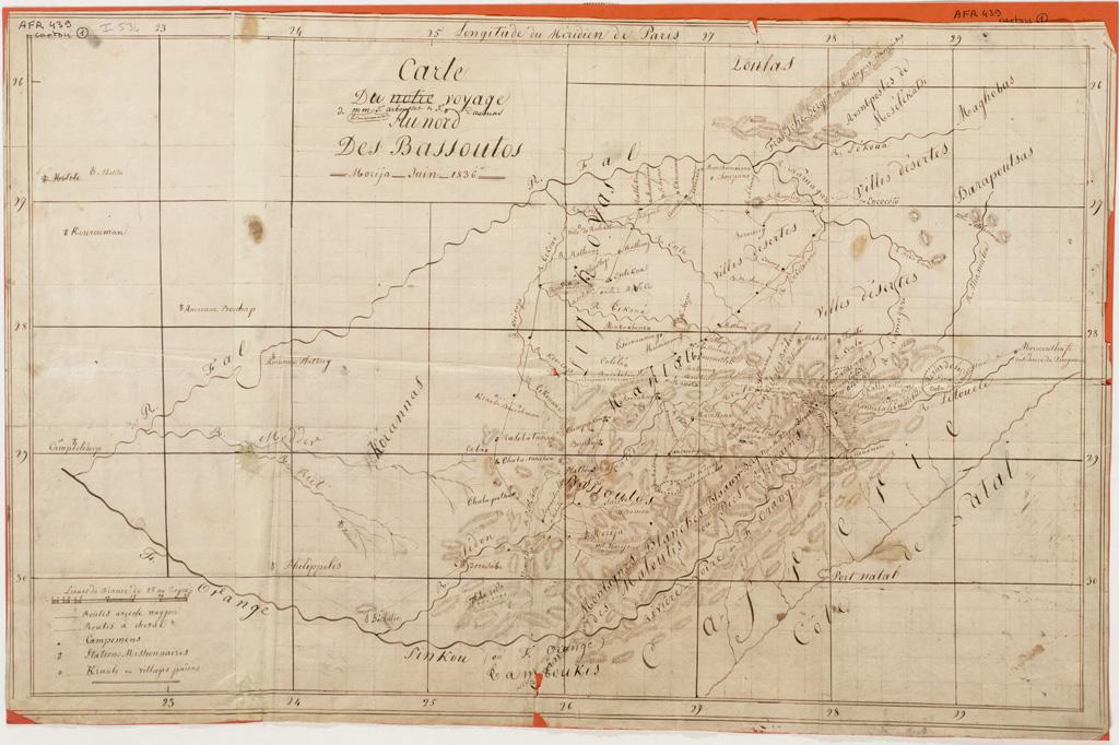 Carte du voyage de MM. les missionnaires T. Arbousset et F. Daumas au nord des Bassoutos. Morija, juin 1836 (01/06/1836)