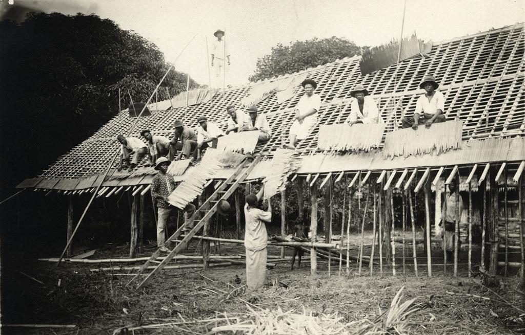 """Construction d'une case - Les élèves catéchistes posent des """"pailles"""" sur le toit de leur case"""