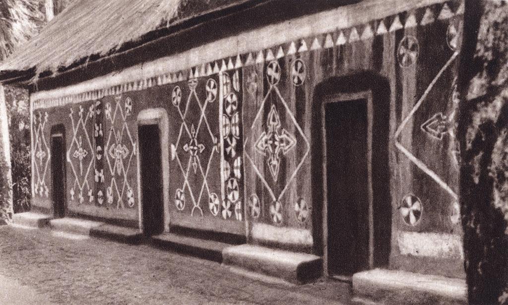 Décoration murale d'une case à Foumban