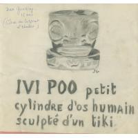 """Dessin d'un """"Ivi Poo"""", petit cylindre d'os humain, sculpté d'un """"tiki"""""""