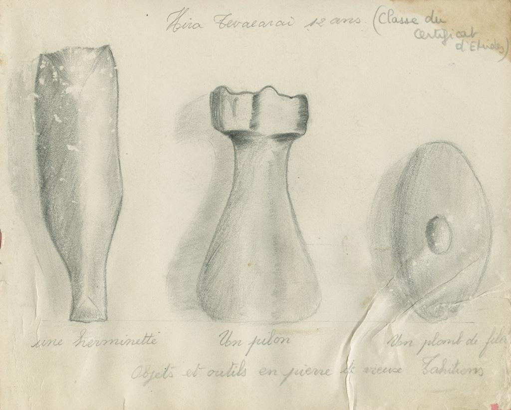 Dessin de vieux outils tahitiens