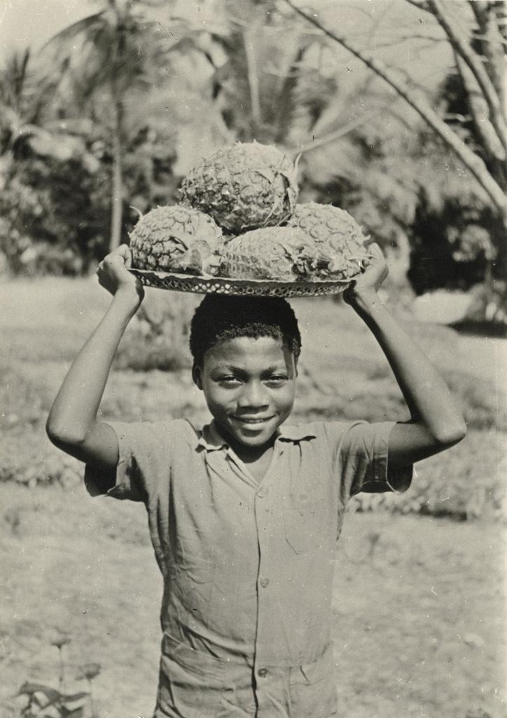 Jeune garçon avec des ananas