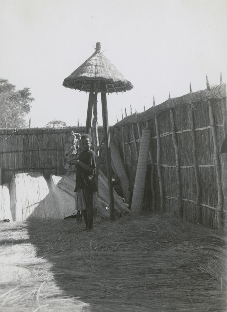 Jeune homme devant la palissade de l'enclos royal