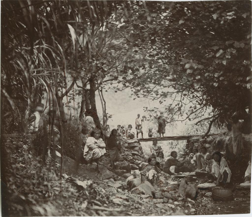 Jeunes filles de Rapa préparant le popoï taro, au milieu de la rivière
