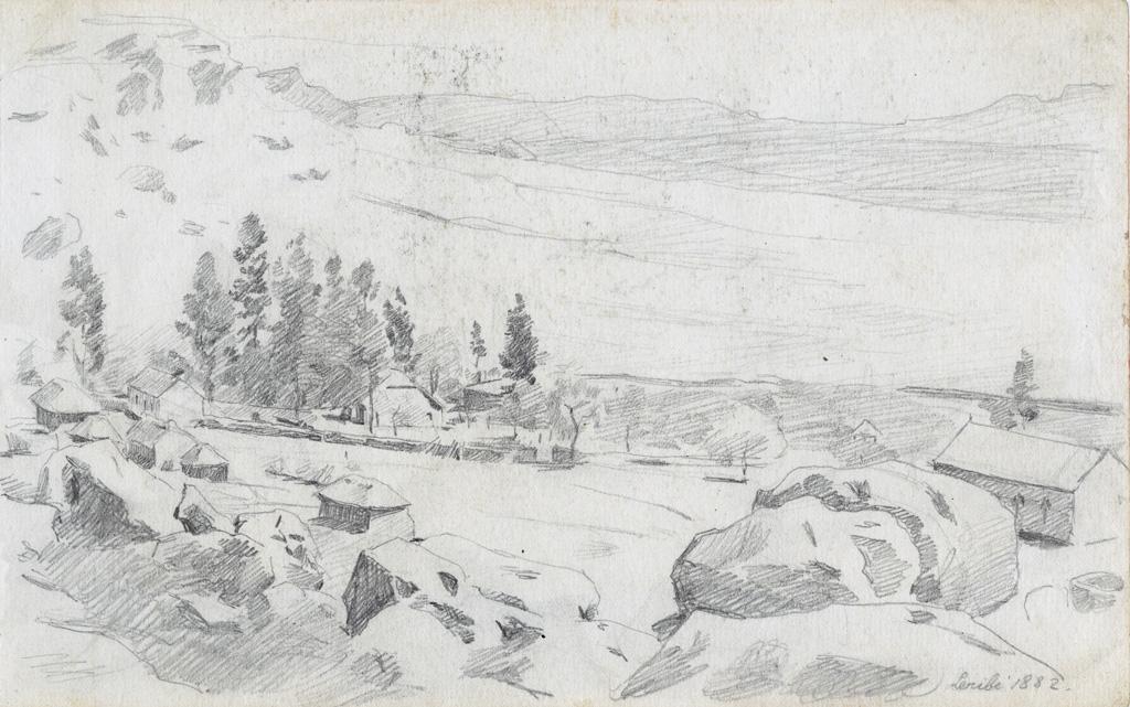 La station missionnaire de Leribe et son temple (à droite)