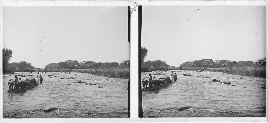 Le missionnaire Dieterlen se préparant à passer les rapides
