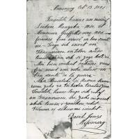 Lettre du missionnaire anglais David Jones, annonçant la prochaine arrivée de sa femme