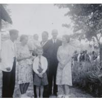 Lors du baptême de Jean-Gui Subilia : G. Subilia, P. Subilia, E. Berger, Jean-Paul Burger, Claire Bornand, Philippe Burger