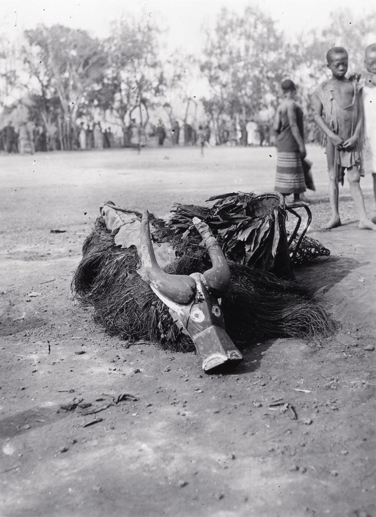 Masque de danse à tête de buffle posé sur le sol pour la mariage de Nji Ngutane