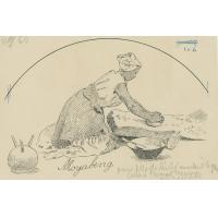 Moyabeng, une jeune fille de Leribe, moulant le grain