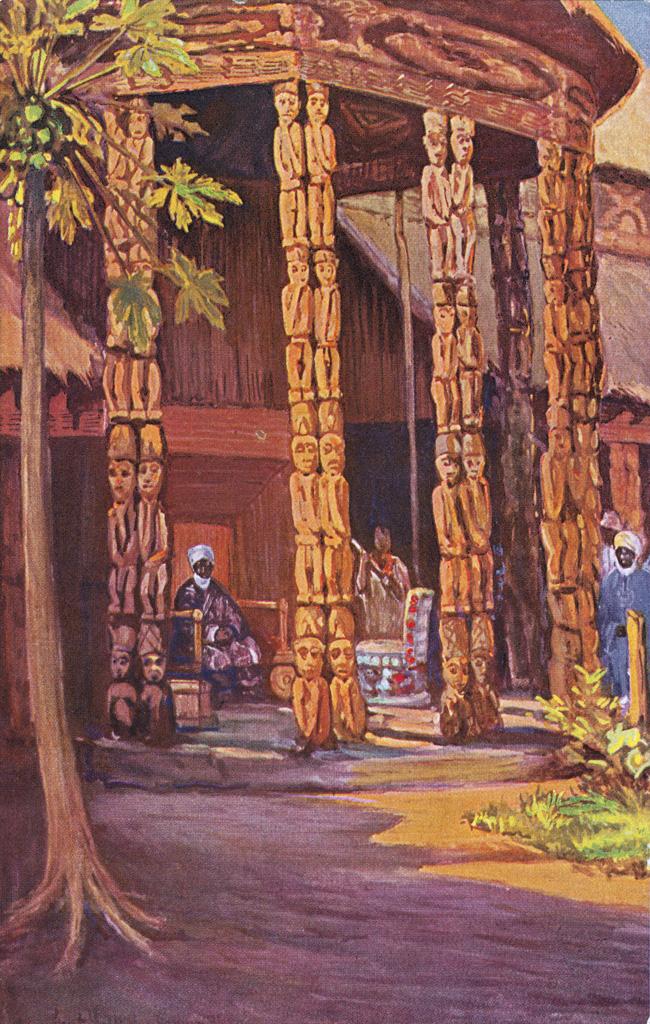 Njoya assis dans la cour d'audience du palais