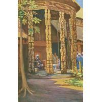 Njoya assis dans la cour de réception de l'ancien palais