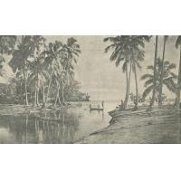 Pirogue à l'embouchure d'une rivière. Tahiti