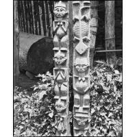Poteaux sculptés (lézard et figures)