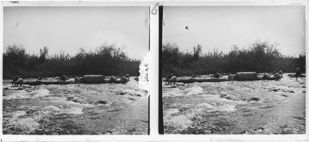 Rapides de Kalé : passage de la pirogue du missionnaire Brummer