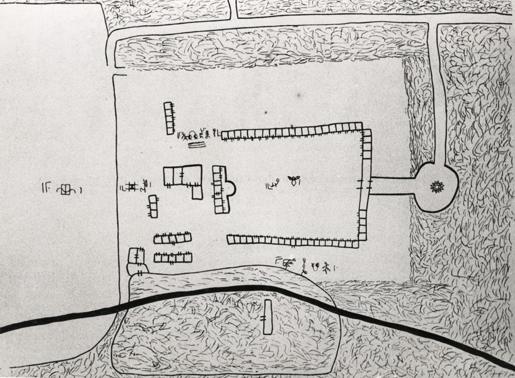 Reproduction du plan dessiné de la ferme du roi Njoya