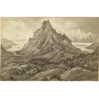 Un sommet (Rotuhi?); au fond la baie d'Opunohu