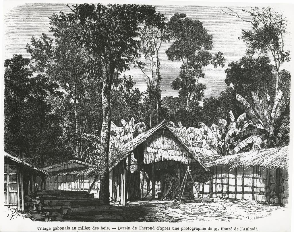 Village gabonais au milieu des bois, dessin de Thérond d'après une photo de M. Houzé de l'Aulnoit