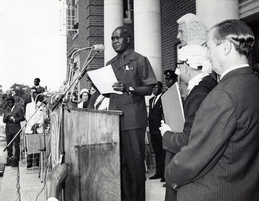 président Kaunda prononce un discours